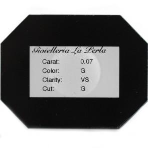 Diamante taglio brillante, 0,07 ct, G, VS,  in Blister La Perla e confezione regalo