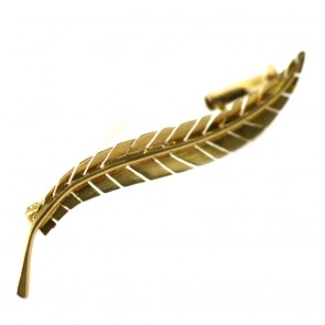 Spilla foglia, autentica vintage, oro - 2,54 gr; 4,6 cm