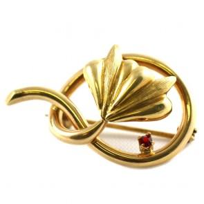 Spilla girandola foglia, autentica vintage, oro con mini rubino