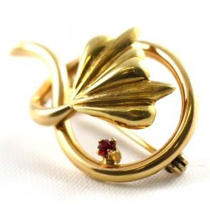 Spilla girandola foglia, autentica vintage, oro con mini rubino - 3,7 gr; 3,4 cm