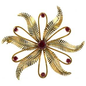 Spilla girandola fiore,  oro e rubini sintetici