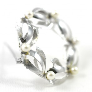 Spilla ghirlanda in stile oro e perle giapponesi -  6,1 gr