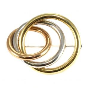 Spilla tre cerchi oro a tre colori