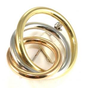 Spilla tre cerchi oro a tre colori - 11.5 gr; 4.2 cm x 3.5 cm