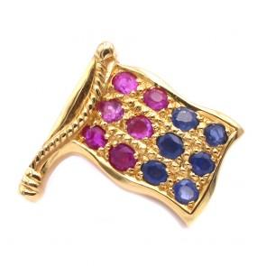 Spilla Bandiera oro, zaffiri e rubini