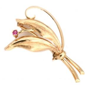 Spilla foglie oro con mini rubino