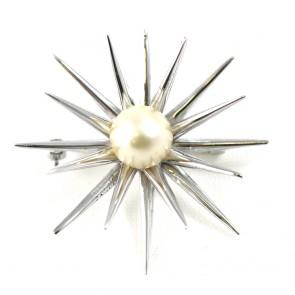 Spilla punte oro e perla giapponese -  8,1 gr
