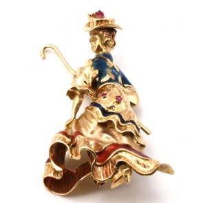 Spilla capolavoro vintage Mary Poppins oro, smalti e rubini.