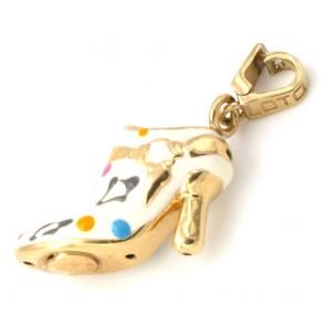 Ciondolo charm scarpetta col tacco in oro e smalti - 2.28 gr