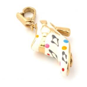 Ciondolo charm scarpetta col tacco in oro e smalti