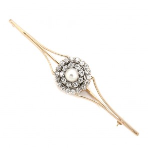 Spillone toppa in stile oro, perla