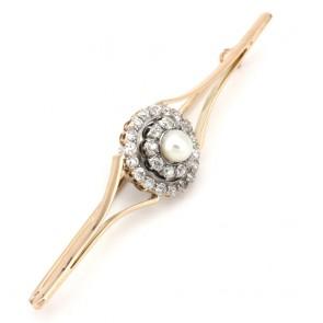 Spillone toppa in stile oro, perla - 6 mm - e diamanti - 1.60-1.70 ct- 8 cm; 10.23 gr
