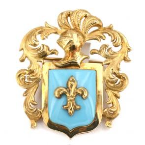 Spilla/Ciondolo antico stemma araldico, con smalto turchese