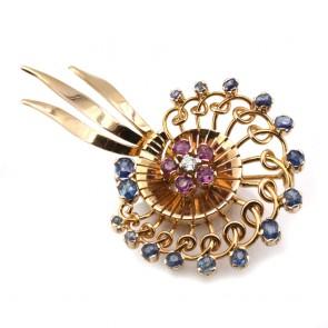 Spilla in stile girandolo oro, zaffiri, rubini e diamante - 16.9 gr