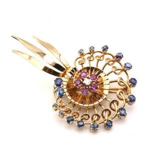 Spilla in stile girandolo oro, zaffiri, rubini e diamante