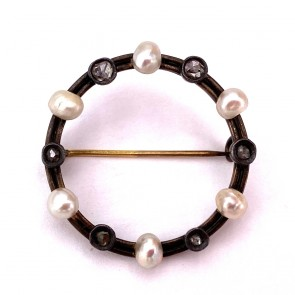 Spilla autentica liberty, antica, oro, argento, perle e diamanti -