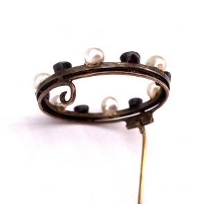 Spilla autentica liberty, antica, oro, argento, perle e diamanti - 5.4 gr; 3 cm