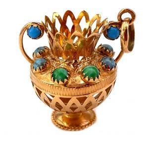 Ciondolo anfora vintage in oro, turchese e agate