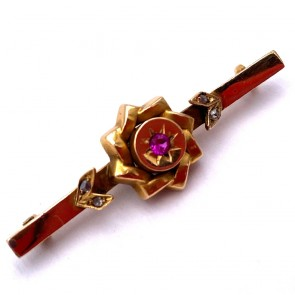 Spilla autentica, antica, oro, rubino di sintesi