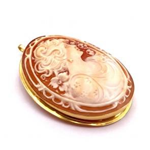 Ciondolo/spilla cammeo e oro - 12.58 gr; 4.8 cm x 3.6 cm