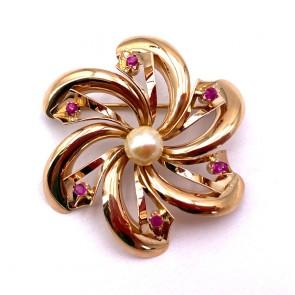 Spilla fiore girandola in stile oro, perla giapponese e rubini