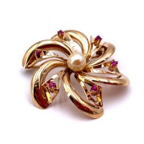 Spilla fiore girandola in stile oro, perla giapponese e rubini -  8.03 gr