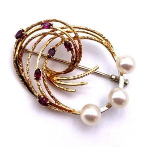 Spilla drappo in stile oro, perle giapponesi e tormaline