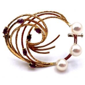 Spilla drappo in stile oro, perle giapponesi e tormaline -  10.83 gr