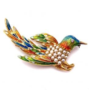 Spilla uccello capolavoro in oro, smalti e micro perle