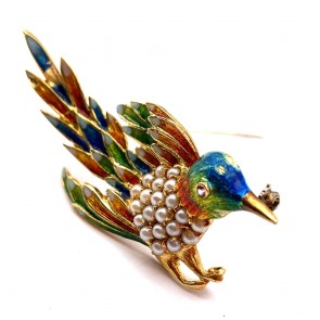 Spilla uccello capolavoro in oro, smalti e micro perle -  14.8 gr