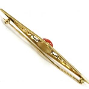 Spilla in stile oro e corallo -  8,2 gr