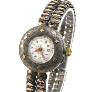 Orologio da polso antico, anni'10-'20, d'argento e d'oro 14 ct, carica a remontoire -18,5 cm x 3 cm. 33,7 gr.