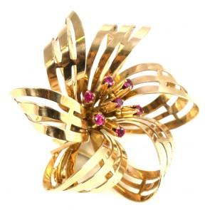 Spilla fiocco girandola autentica, oro e rubini sintetici - 12,2 gr; 4 cm