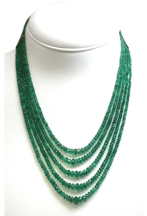 Très Collana multifilo smeraldo e oro HB58
